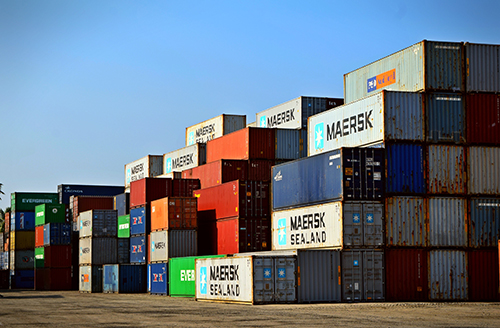 Image of a group of containers in a port